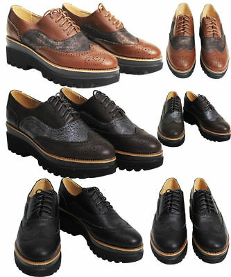 New Ladies Womens Lace Up Platform Wedges Flat Brogues Loafer Creepers Sizes