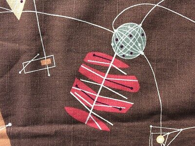 Fabulous pair huge American Mid century Modern curtains Lucienne Day style