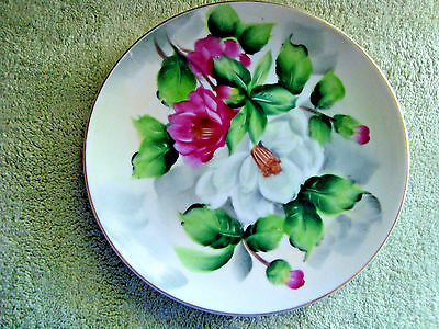 Small Lefton China Decorative porcelain Plate of White & Pink Roses