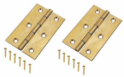 """Solid Brass Door Hinges 3"""" Steel Washered Butt Hinge Self Colour 76mm x 51 x 2mm"""