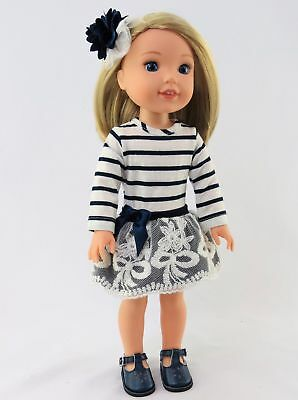 """Navy Stripe Lace Dress For 14.5"""" Wellie Wishers American Girl Doll Clothes"""