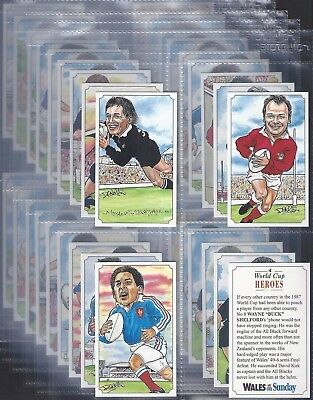Wales On Sunday-Full Set- World Cup Heroes (Rugby T36 Cards) - Exc+++