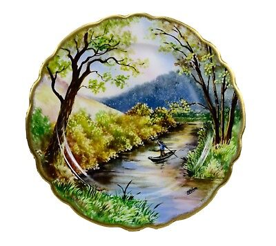 French Antique Hand Painted Landscape Limoges Porcelain Wall Plate Signed
