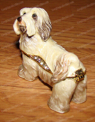 HAVANESE Trinket Box (Pedigree Dog Collection, 3212) Bejeweled, Baked Enamel