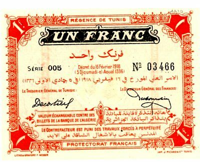 Tunisia ... P-33 ... 1 Franc ... 1918 ... Ch*AU-UNC* ... Early Note.