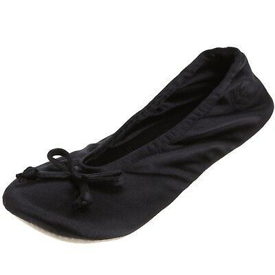 NEW ISOTONER WOMEN'S Classic Satin Ballerina Slipper, Black