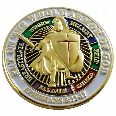 """Put On The Whole Armor Of God 1"""" Lapel Pin Christian"""