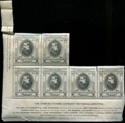 Charles Dickens Centenary Part Sheet 6 Stamps