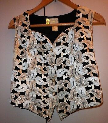 Vintage French Womens Brocade Waistcoat Medium Excellent Condition