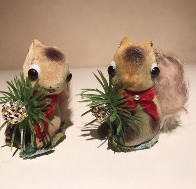 Vintage Pair of Cute Flocked Squirrels ~ Real Rabbit Fur Tails ~ Red Bow Xmas