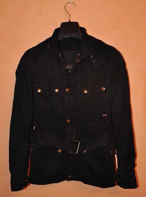 Belstaff Gold Label Roadmaster Waxed Black Jacket Ghost Size 42 S Italy P2P 19 ""