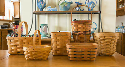 Longaberger Lot 6  Baskets 5 Protectos  8 Fabric Liners 2 Tie Ons 1 Wood Lid +
