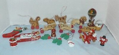 LOT of VINTAGE WOODEN CHRISTMAS ORNAMENTS -  SOME TAWIAN
