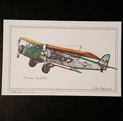 BOEING Model 80 Collector Series by Roy Andersen United Airlines litho Postcard