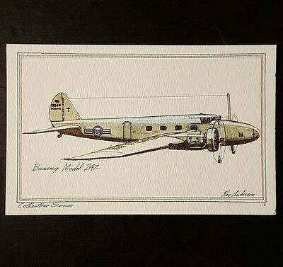 BOEING Model 247 Collector Series by Roy Andersen United Airlines litho Postcard