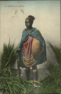 Ethnography Native Black Woman Walking-Out Costume Publ Durban Postcard