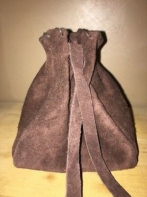 Large Leather Drawstring, Dice Bag, Coin Pouch