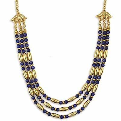 """Egyptian Cleopatra Triple Strand Necklace Lapis with Goldplat 18"""" & Earring Set"""