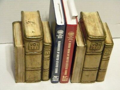 """Pair of Antique Book Ends """"Three Book design"""" (starting price reduced)"""