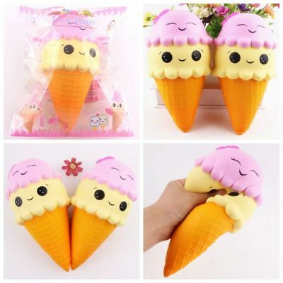 18cm Squishy Smile face Ice Cream Cone Jumbo Slow Rising Soft Squeeze Stress Toy