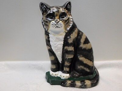 """Vintage Cast Iron Tabby Cat Door Stop 11"""" Hand Painted Black, White, Tan, Green"""