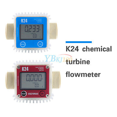 K24 LCD Turbine Digital Diesel Fuel Flow Meter for Chemicals Water Red/Blue ly