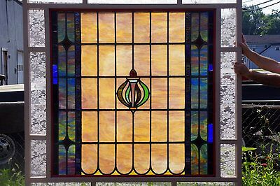 Huge Leaded Stained Glass Window-Antique-C 1910-Leaded Stained Glass Window