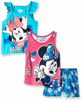 Disney Baby Girls' 3 Piece Minnie Mouse Short Set Blue/Hot Pink 4T New