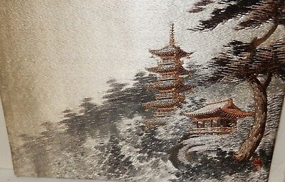 Japanese Silk Embroidery Tapestry Temples Landscape Painting Signed