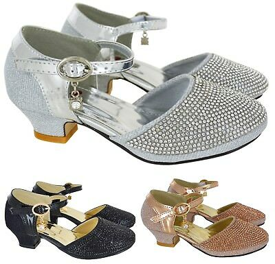 Kids Girls New Low Mid Heel Party Wedding Strap Bridesmaid Sandals Shoe Size 6-2