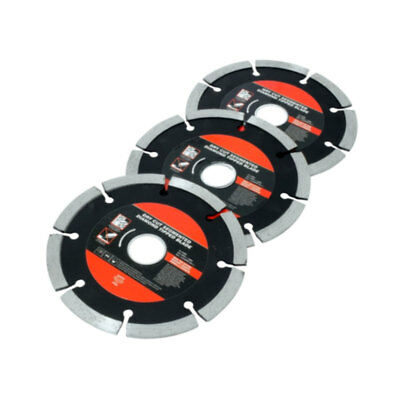 3 x 115mm Dry Cut Segmented Blade Disc Angle Grinder Diamond Tipped 22mm Core