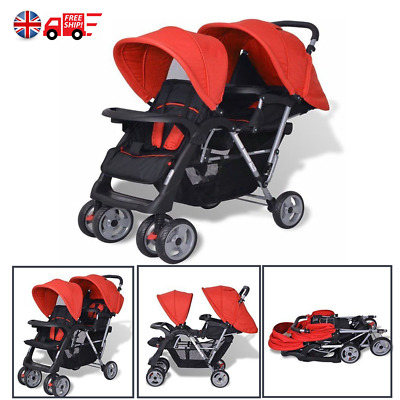 Tandem Pushchair Double Baby Buggy Twin Pram Infant Toddler Stroller Red Black