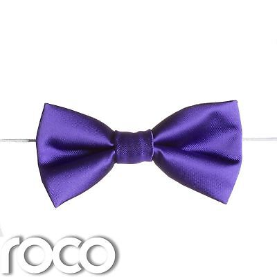 Boys Purple Elasticated Dickie Bow Tie Page Boy Wedding Prom Dickie Bows