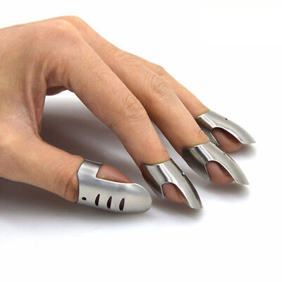 4Pcs Stainless Steel Finger Nail Protector Guard Knife Slice Kitchen Tool