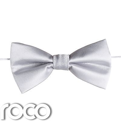 Boys Silver Elasticated Dickie Bow Tie Page Boy Wedding Prom Dickie Bows