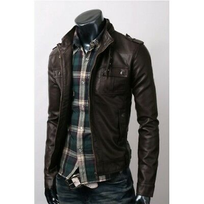 Mens Brown Real Bespoke Handmade Cowhide Black  Genuine Leather Jacket