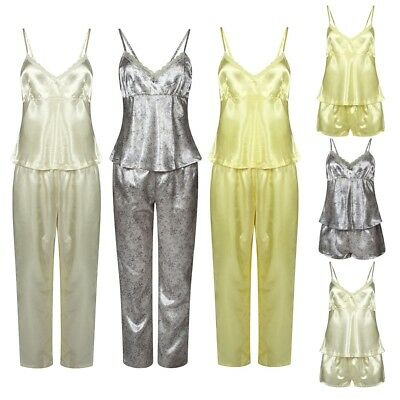 3 Piece Ladies Women  Satin Pyjama Set Vest Lace Shorts PJ/'S Nightwear Nighty
