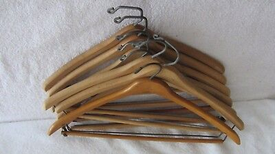 Lot of 8 Vintage Wood Pant Suit Hangers Wishbone, Nagel, Batts Round Curved