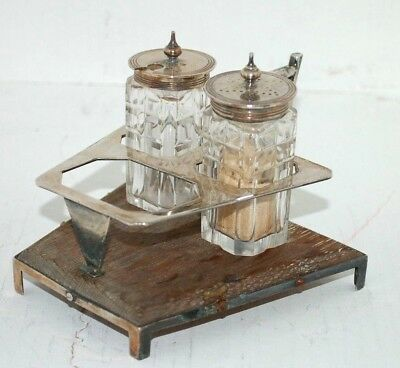 Silver Plated / Wooden Cruet By Hukin And Heath Christopher Dresser Style