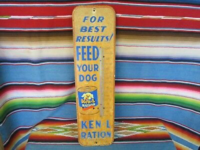 Vintage Ken-L Ration Advertising Thermometer In Working Used Condition