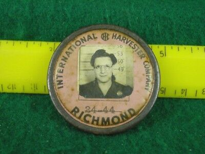 International Harvester Co. Employee Photo ID Pin Back Badge Richmond Indiana