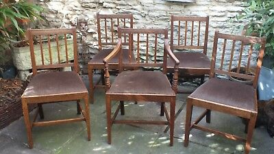 Set of 5 oak Georgian country dining chairs