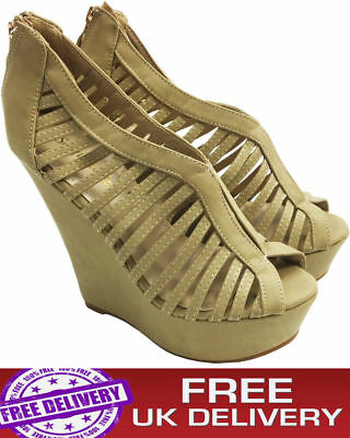 Womens Ladies Strappy Gladiator Platform Party High Heel Wedges Sandals Size3-8