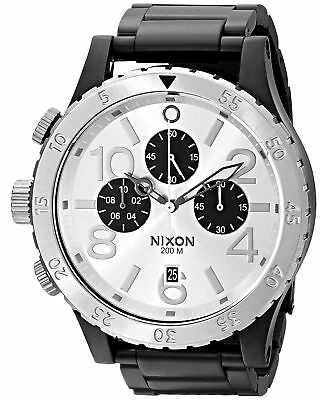 Nixon Men's A486-180-00 48-20 Chronograph 48m PVD Silver Dial Watch A486180