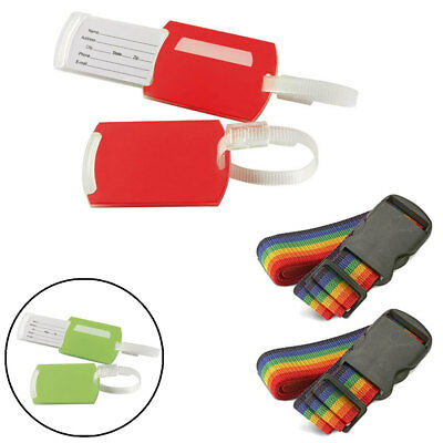 4 Travel Luggage Suitcase Strap Rainbow Color Belt Baggage Backpack Bag Name Tag