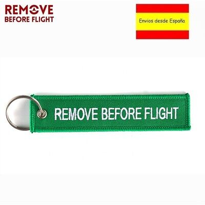 Llavero REMOVE BEFORE FLIGHT Avión A380 777 Airbus Maletas Mochilas Llaves verde
