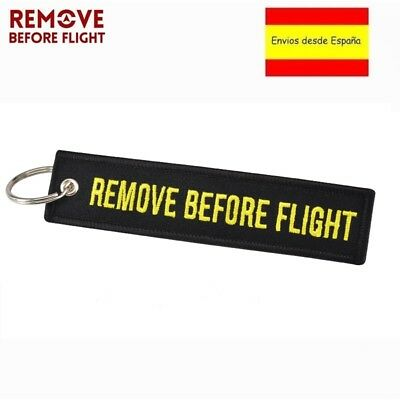 Llavero REMOVE BEFORE FLIGHT Avión A380 777 Airbus Maletas Mochilas Llaves NEGRO
