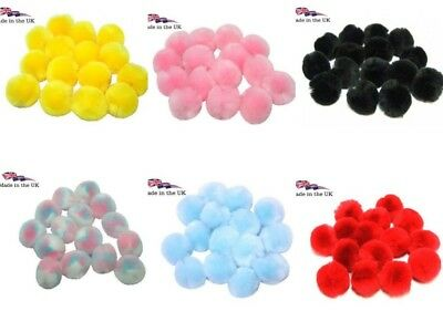 Craft Pom Poms  Balls 8 Colours  25mm or 40mm 3 Packet Sizes British Made