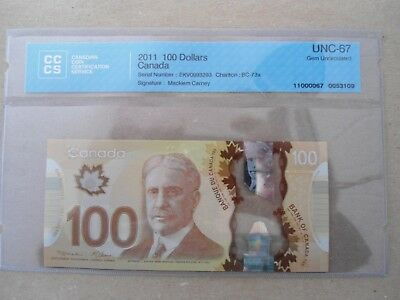 100$ 2011 bank of canada  EKV  67pts perfect