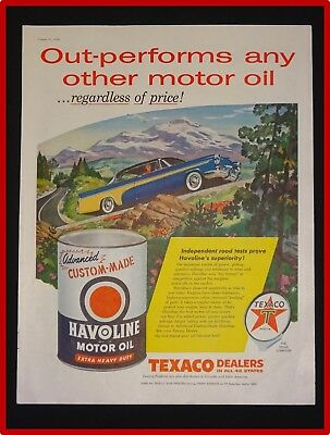 March 31, 1956 Texaco Havoline Motor Oil Ad ~ Out-Performs Other Motor Oil